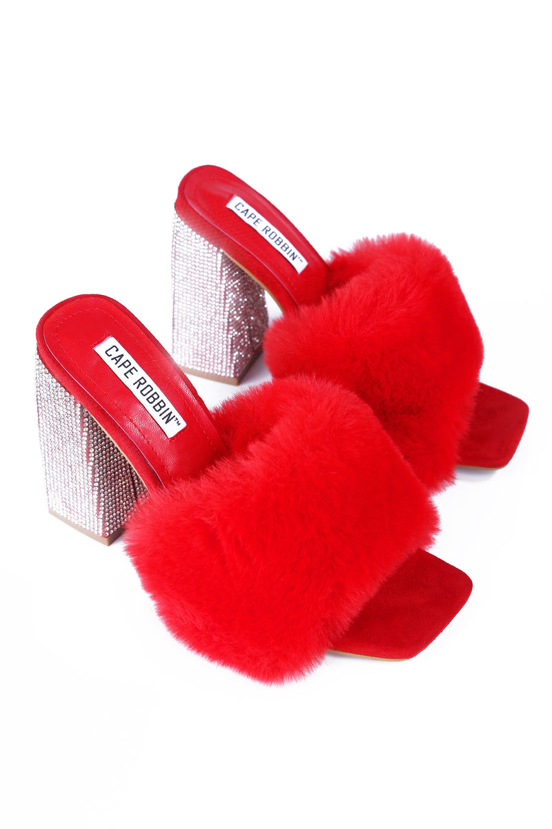 SOFTY PICK UP THE PHONE FUR MULE SANDAL-RED
