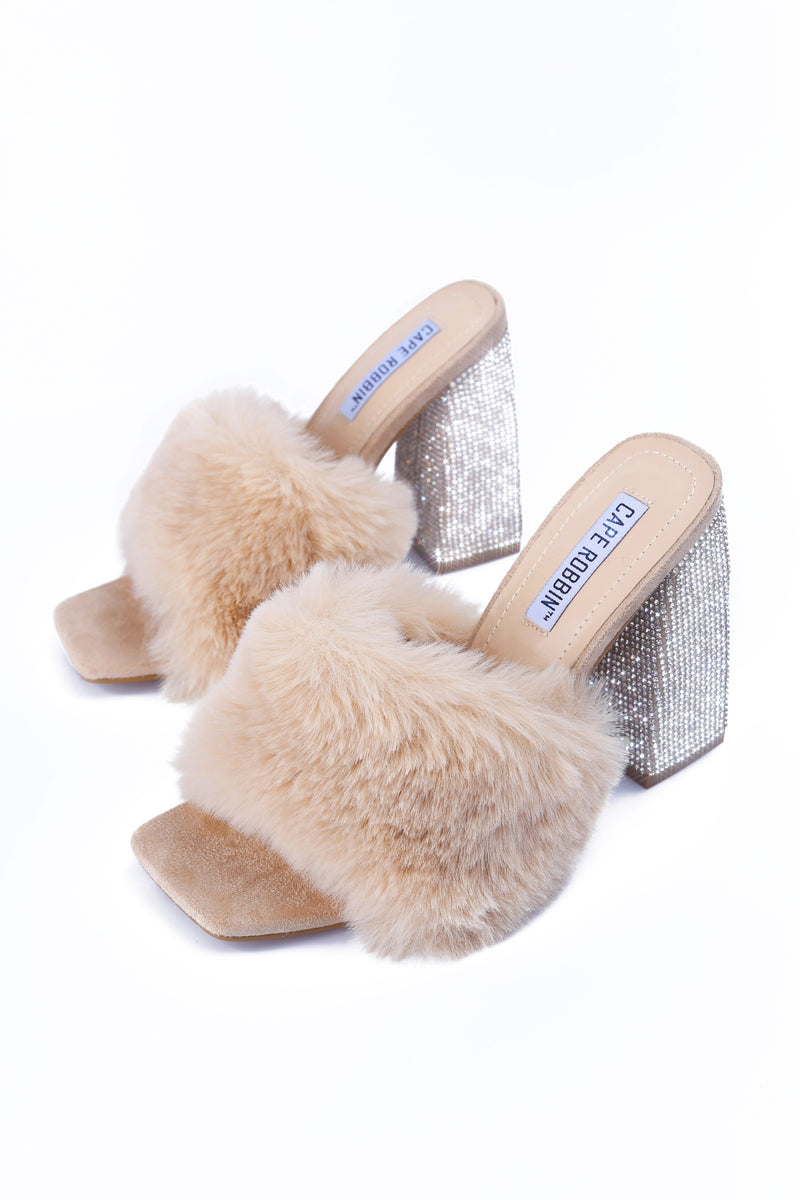 SOFTY PICK UP THE PHONE FUR MULE SANDAL-NUDE