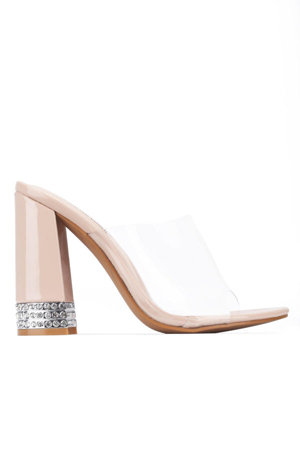 AMSTERDAM CHECK ME OUT CLEAR HEELED SANDAL-NUDE