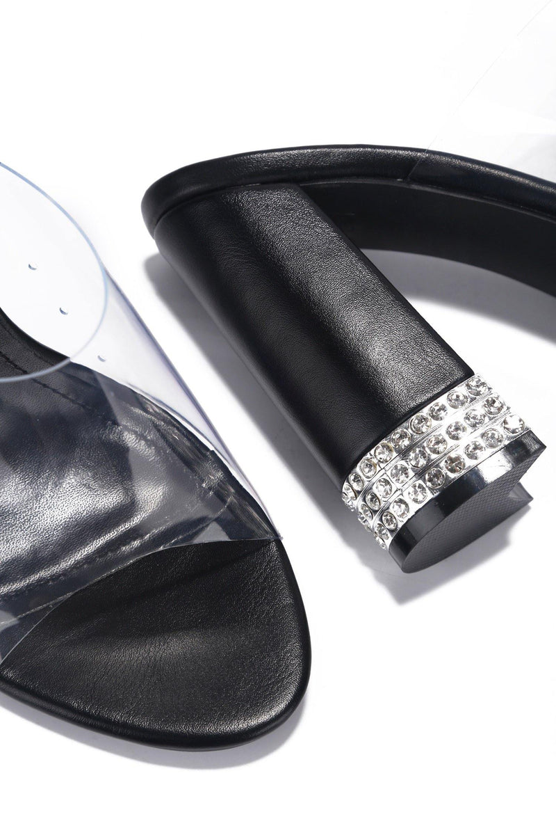 AMSTERDAM CHECK ME OUT CLEAR HEELED SANDAL-BLACK