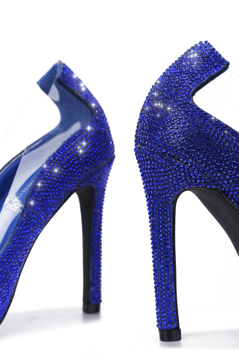 TOPIA KEEP HER AROUND RHINESTONE PUMPS-BLUE