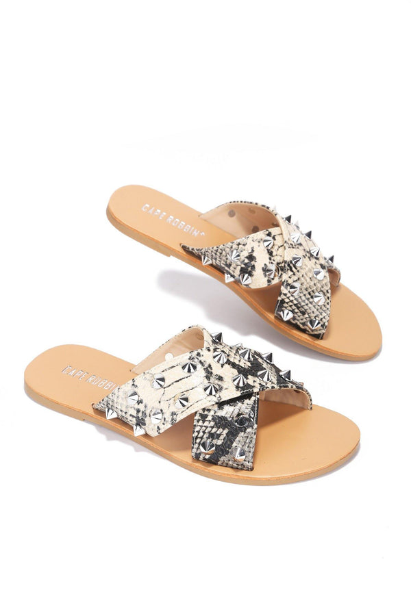 ALEXANDER JUST TOO HOT STUDDED SLIDES-SNAKE