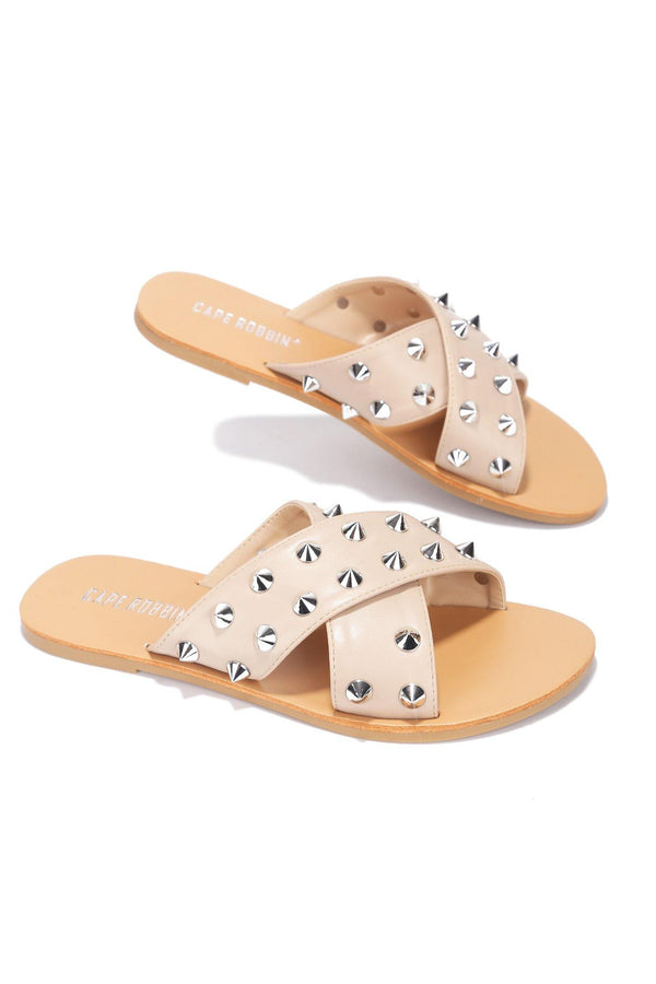 ALEXANDER JUST TOO HOT STUDDED SLIDES-NUDE