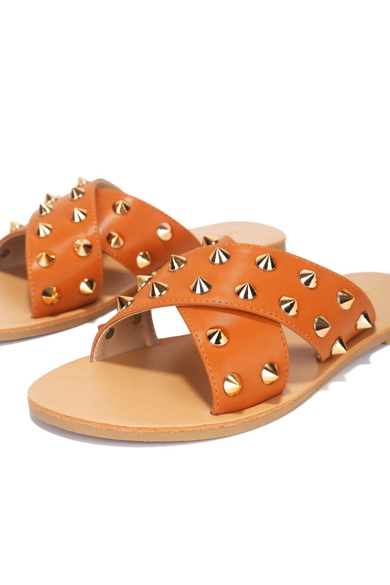 ALEXANDER JUST TOO HOT STUDDED SLIDES-CAMEL