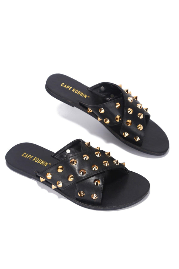 ALEXANDER JUST TOO HOT STUDDED SLIDES-BLACK