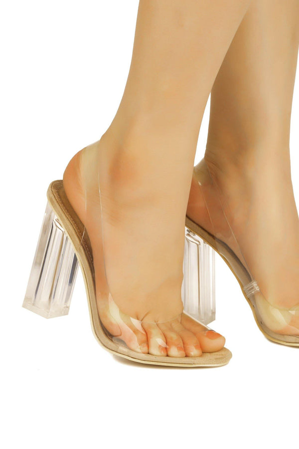 MICROBURST DARE YOU CLEAR HEEL SANDALS-NUDE - FlashyBox