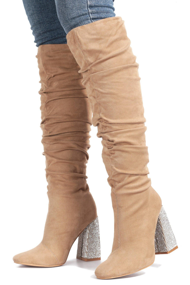 ESSENTIAL WHAT'S IT TO YOU KNEE HIGH BOOTS-TAUPE
