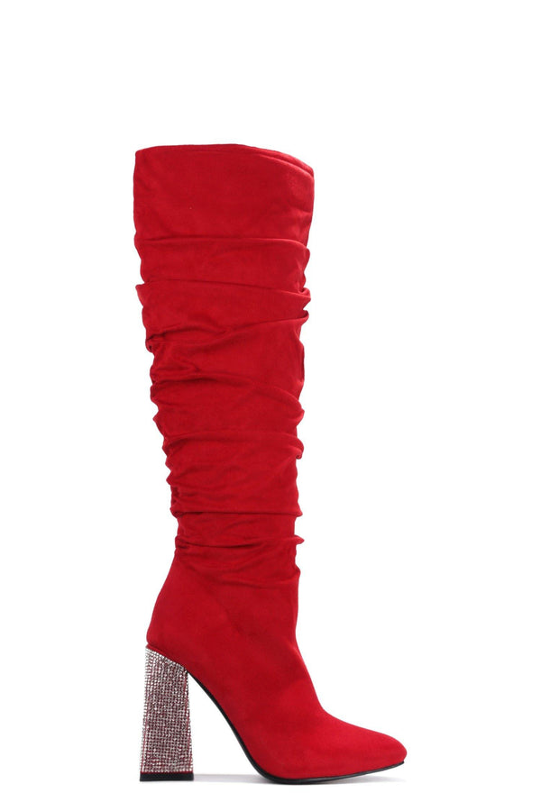 ESSENTIAL WHAT'S IT TO YOU KNEE HIGH BOOTS-RED