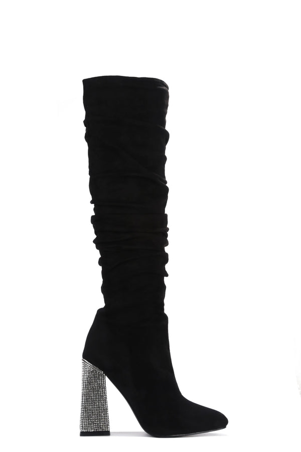 ESSENTIAL WHAT'S IT TO YOU KNEE HIGH BOOTS-BLACK - FlashyBox