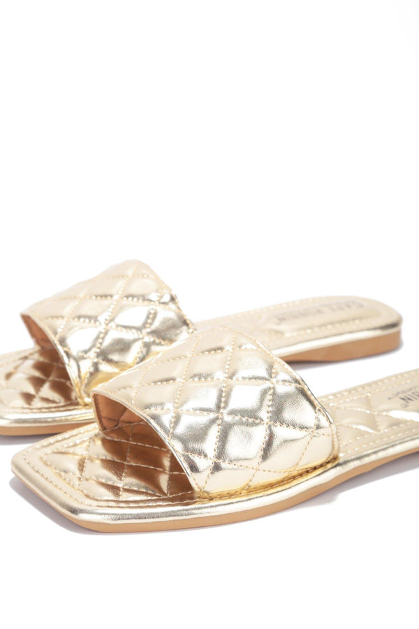 GAMON SQUARED AWAY QUILTED SLIDE ON SANDALS-GOLD - FlashyBox