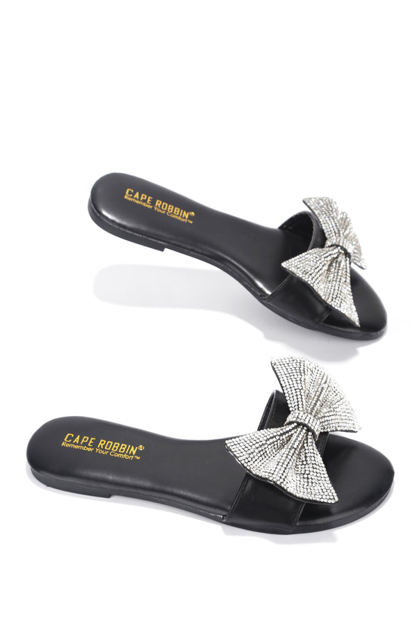CHESA THOUGHT ABOUT IT EMBELLISHED SLIDE ON SANDALS-BLACK