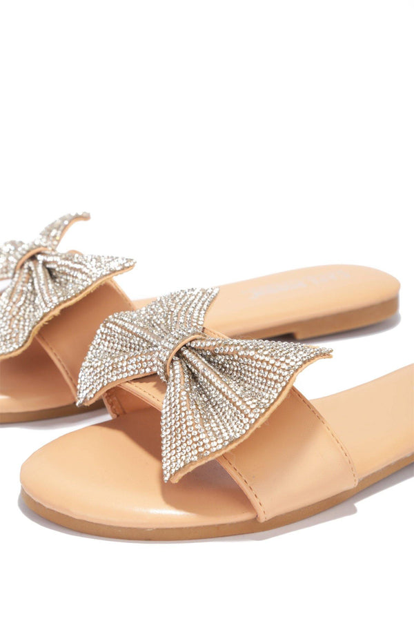 CHESA THOUGHT ABOUT IT EMBELLISHED SLIDE ON SANDALS-NUDE