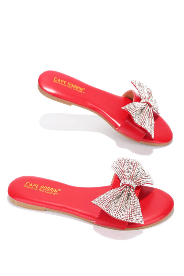 CHESA THOUGHT ABOUT IT EMBELLISHED SLIDE ON SANDALS-RED