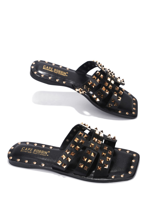 AMISHA DRIVE YOU WILD STUDDED SLIDE ON SANDALS-BLACK - FlashyBox