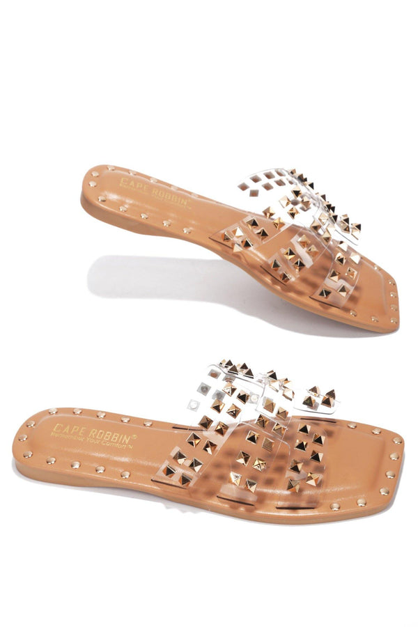 AMISHA DRIVE YOU WILD STUDDED SLIDE ON SANDALS-CLEAR