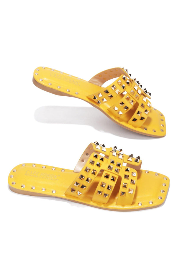 AMISHA DRIVE YOU WILD STUDDED SLIDE ON SANDALS-YELLOW