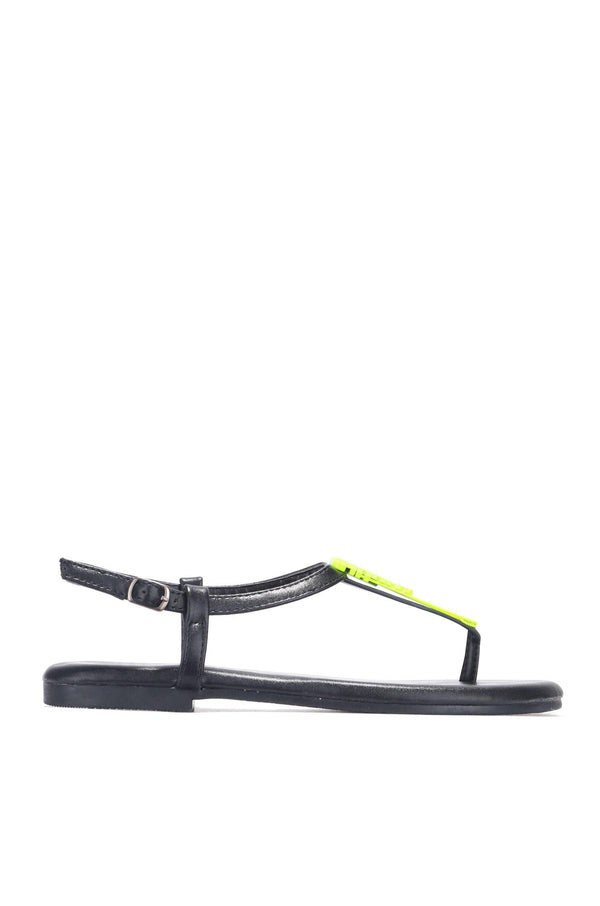 KACY LOVE STORY FLAT SANDALS-BLACK