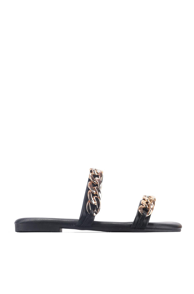 SANDIE ALL THE CHAINS SLIDE ON SANDALS-BLACK - FlashyBox