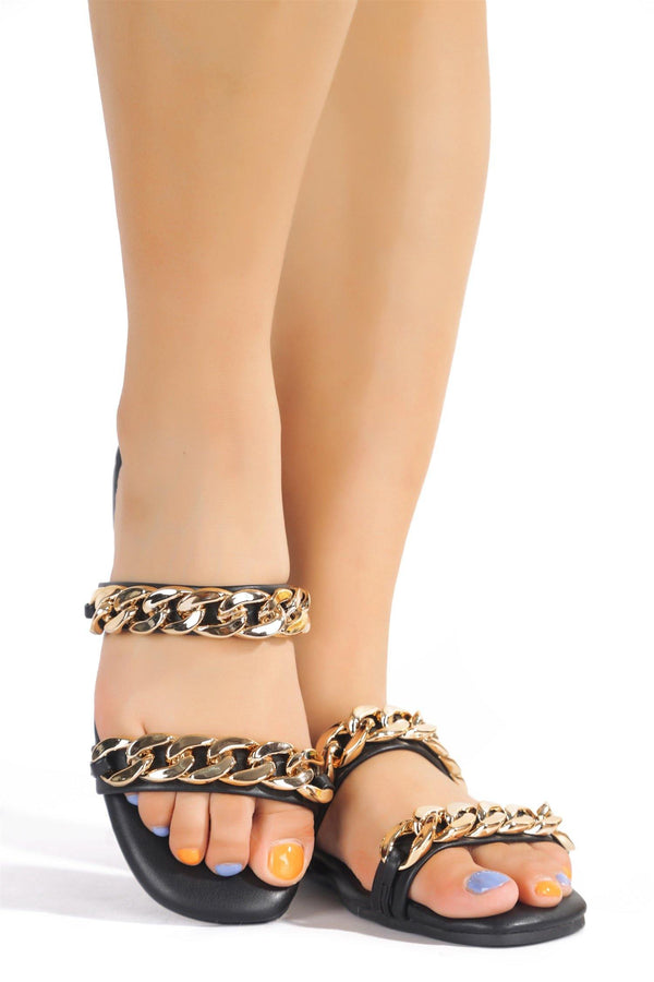 SANDIE ALL THE CHAINS SLIDE ON SANDALS-BLACK