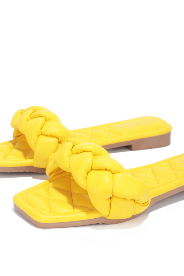 MISCHA YOU GOT IT SLIDE ON SANDALS-YELLOW - FlashyBox