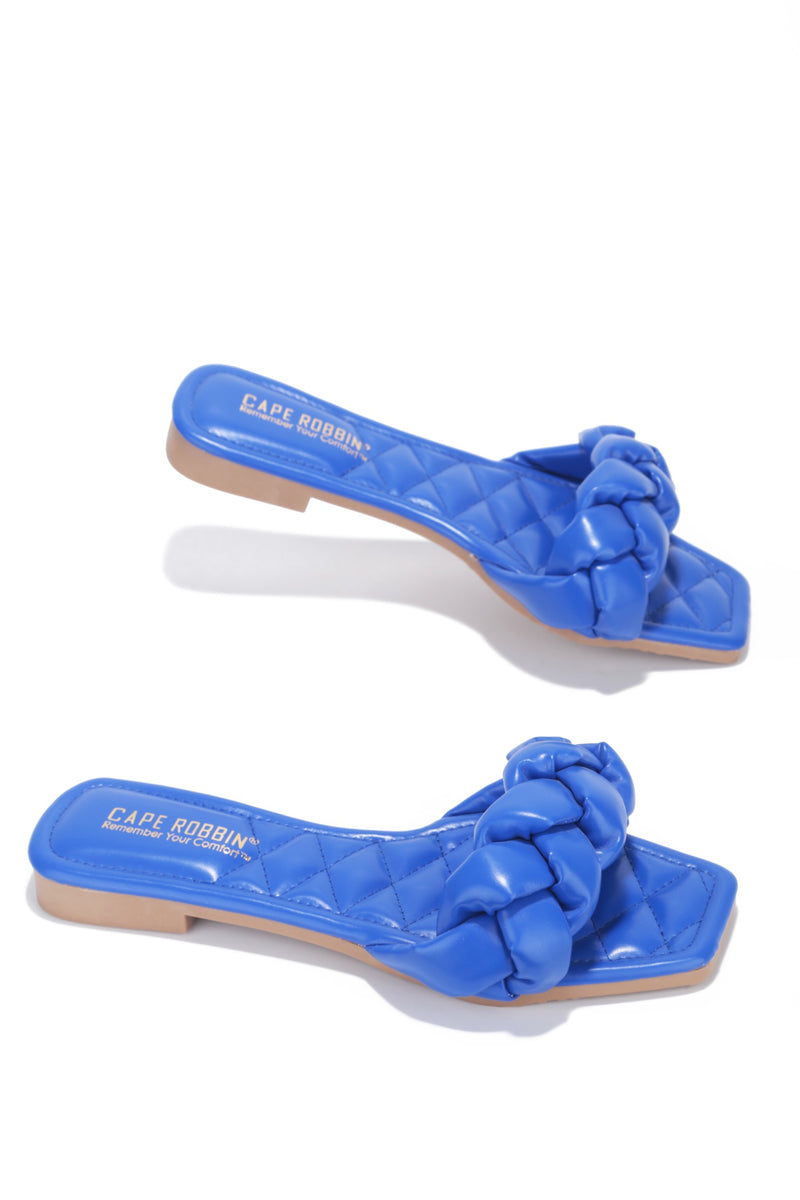 MISCHA YOU GOT IT SLIDE ON SANDALS-BLUE - FlashyBox