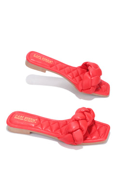 MISCHA YOU GOT IT SLIDE ON SANDALS-RED - FlashyBox