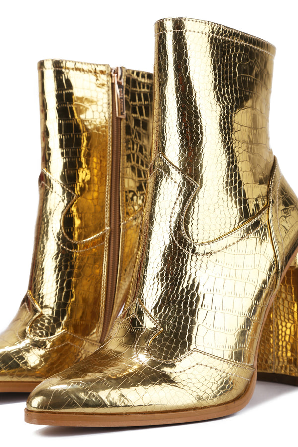 SELMA MIDNIGHT LOVER BOOTIES-GOLD - FlashyBox