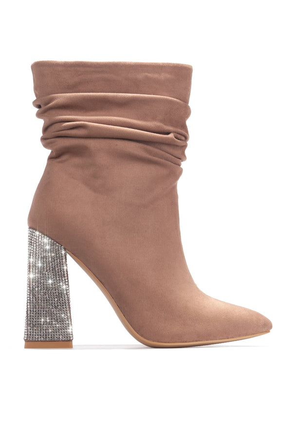 VIKA ULTIMATE BADDIE HEELED BOOTIES-TAUPE - FlashyBox
