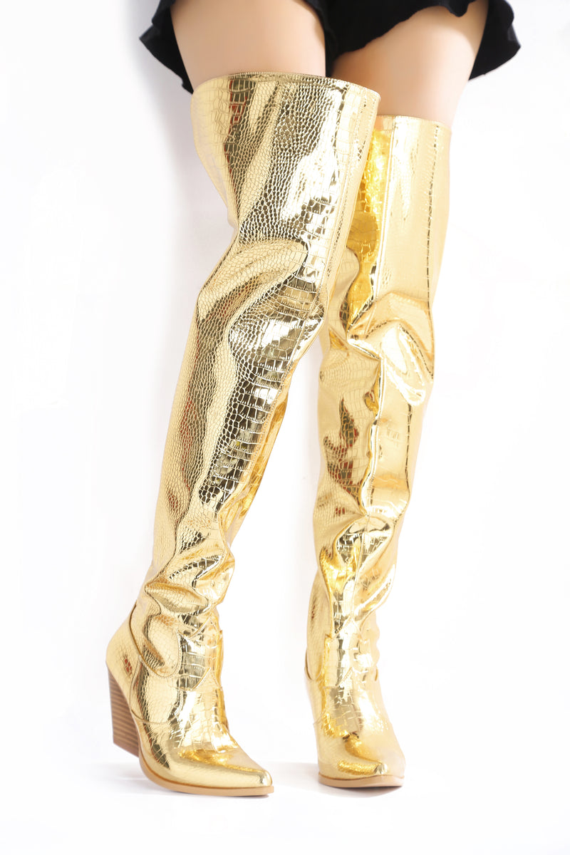 CENTRA BEST IN THE WEST THIGH HIGH BOOTS-GOLD - FlashyBox
