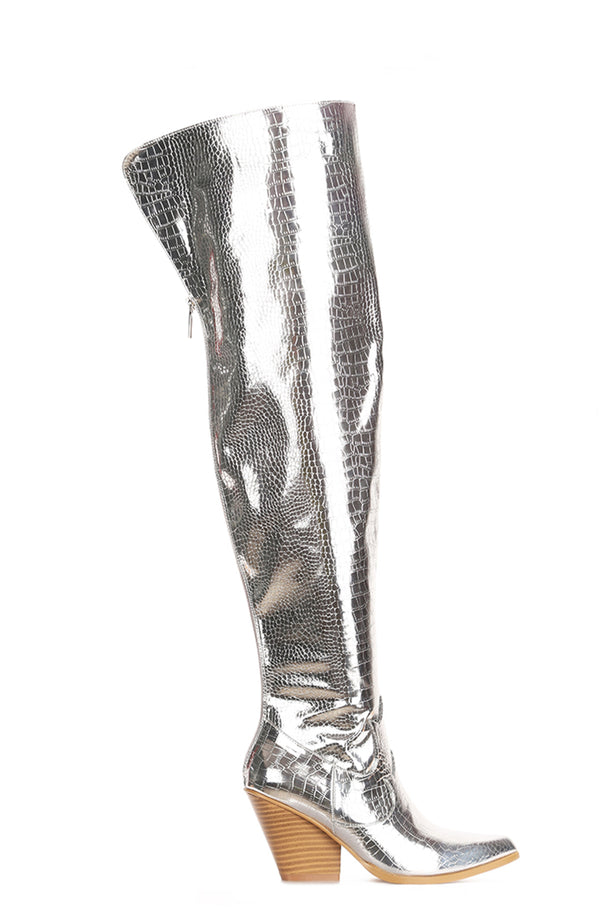 CENTRA BEST IN THE WEST THIGH HIGH BOOTS-SILVER - FlashyBox