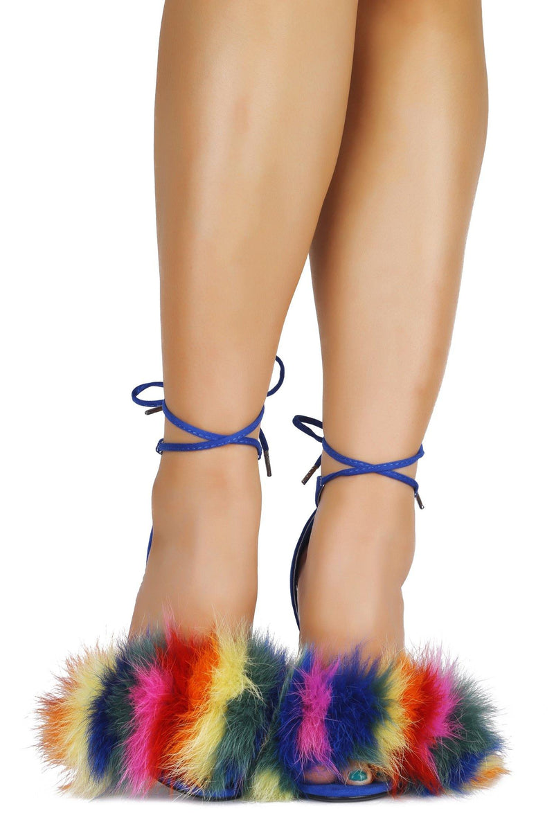 FURRIERY BRING IT FUR HEELED SANDAL-BLUE - FlashyBox