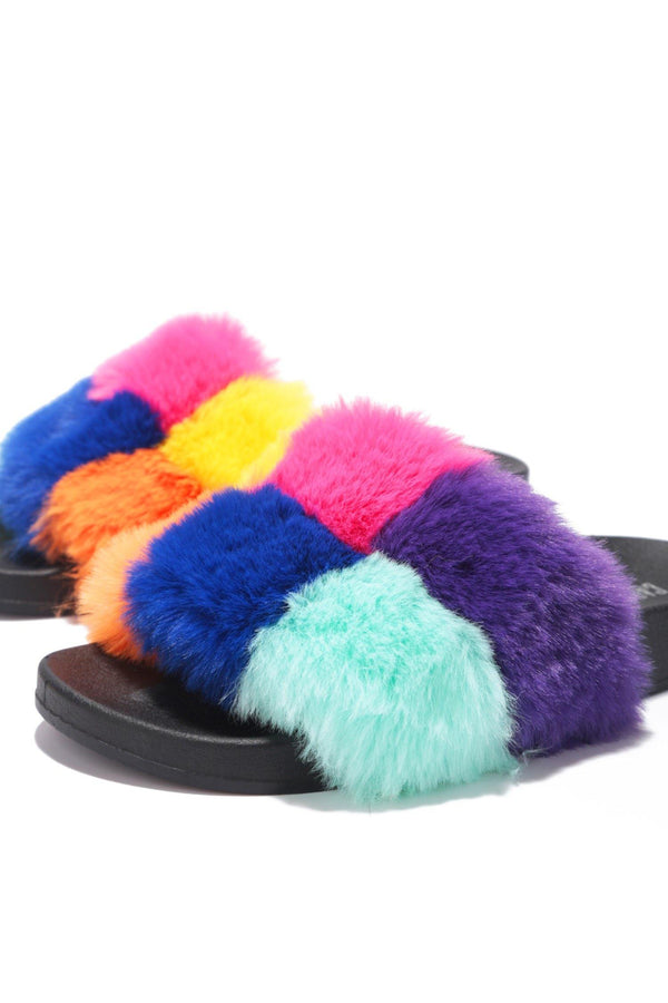BLOCKS BREAK TIME NOW FUR SANDALS-MULTI COLOR