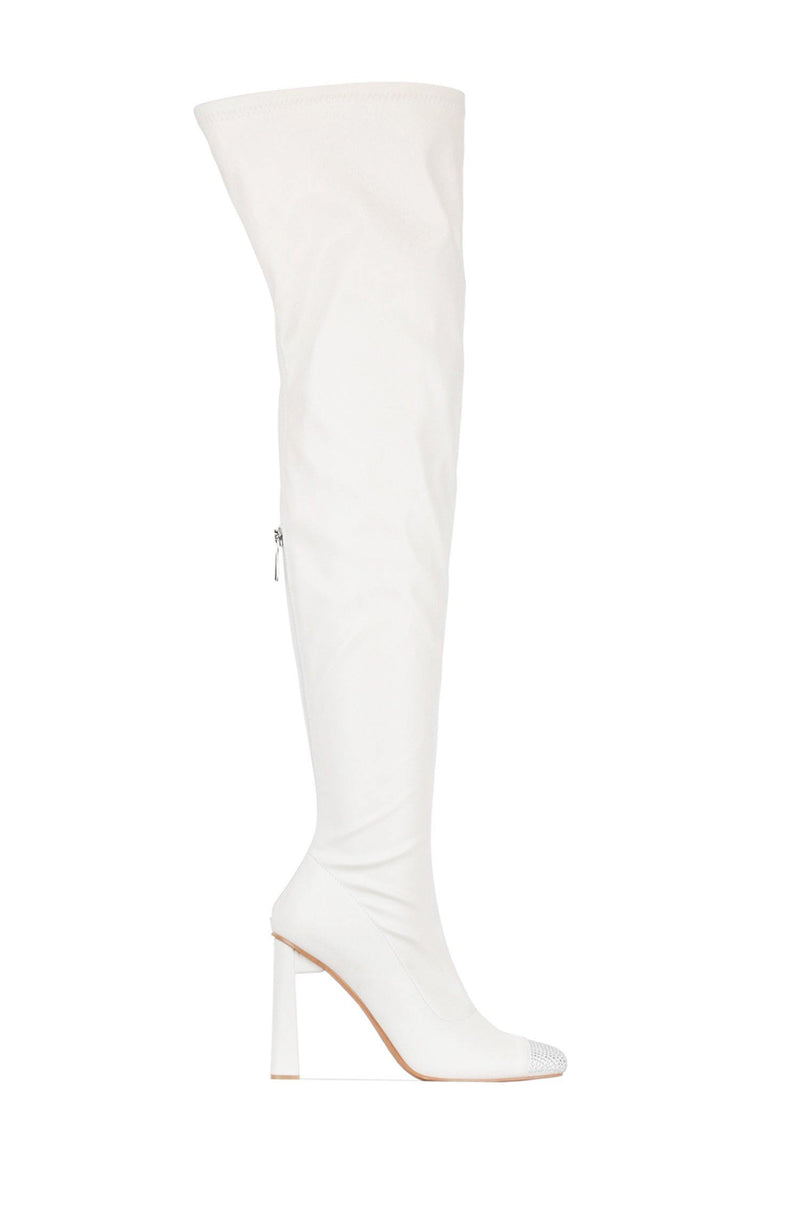 RINGPOP LOTS OF FUN THIGH HIGH BOOTS-WHITE