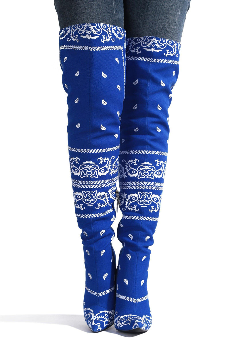 SPRING BANDANNA PRINT THIGH HIGH BOOTS-BLUE