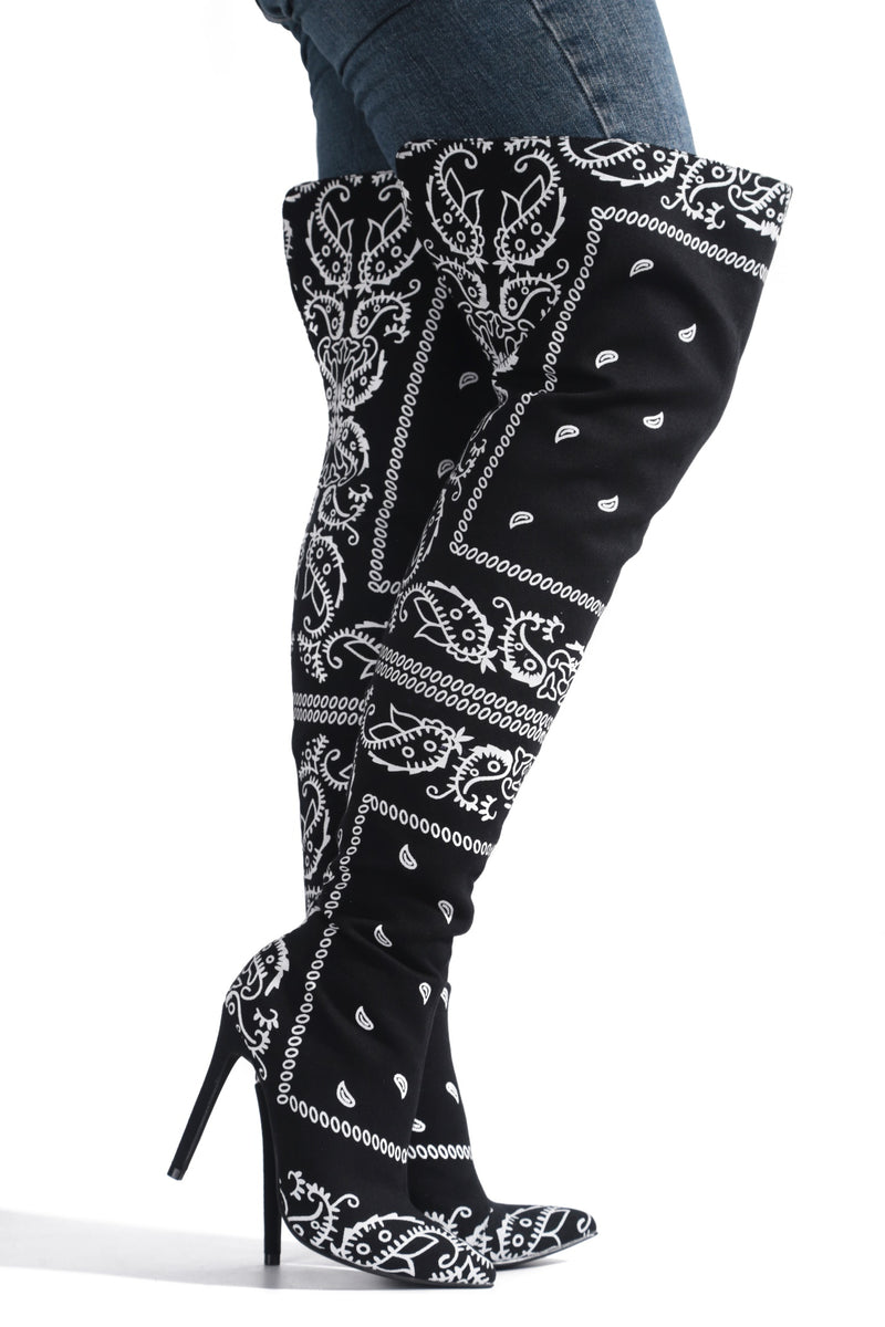 SPRING BANDANNA PRINT THIGH HIGH BOOTS-BLACK - FlashyBox