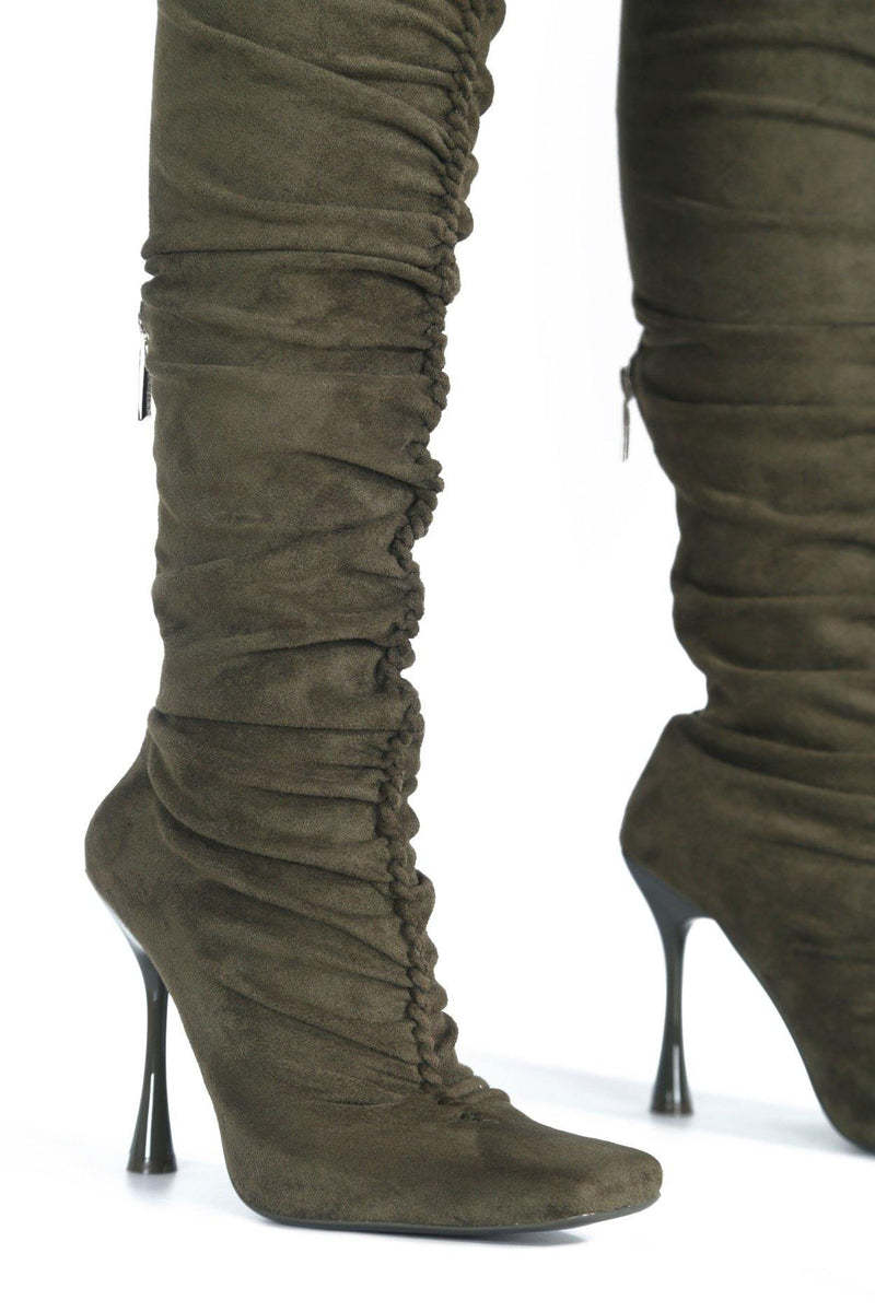 WHATSIS PRETTY IN THIGH HIGH BOOTS-OLIVE