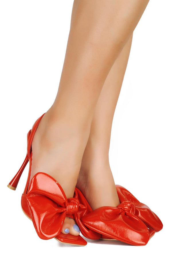 GIFTED RIBBONS AND BOWS HEELED SANDALS-RED - FlashyBox