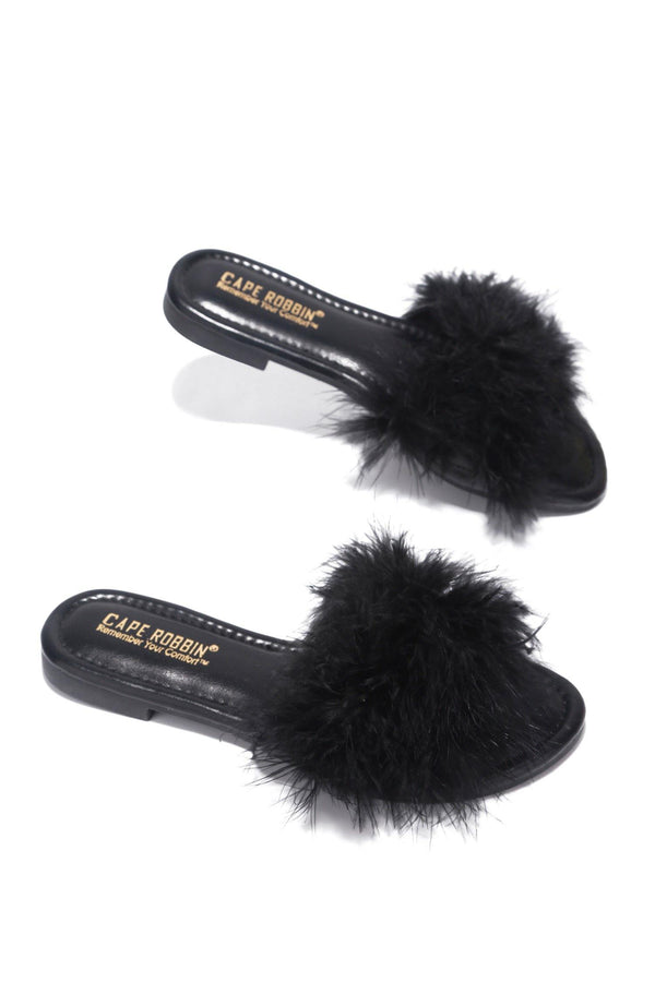 SANDAL 1 FLUFFY FUR FEATHER FLAT SLIP ON SLIDE SANDALS-BLACK - FlashyBox