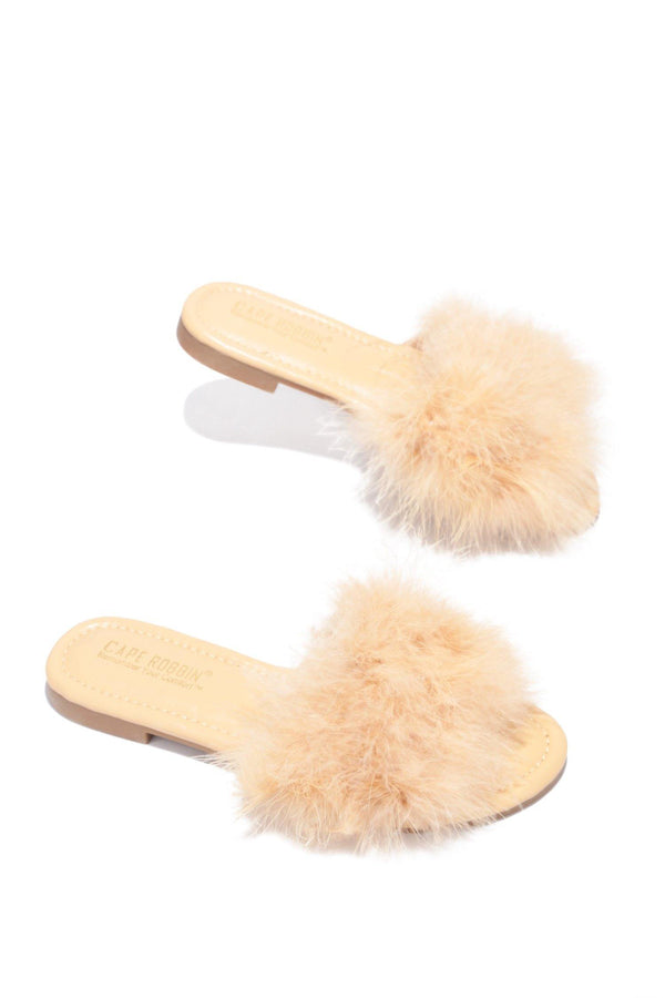 SANDAL 1 FLUFFY FUR FEATHER FLAT SLIP ON SLIDE SANDALS-NUDE