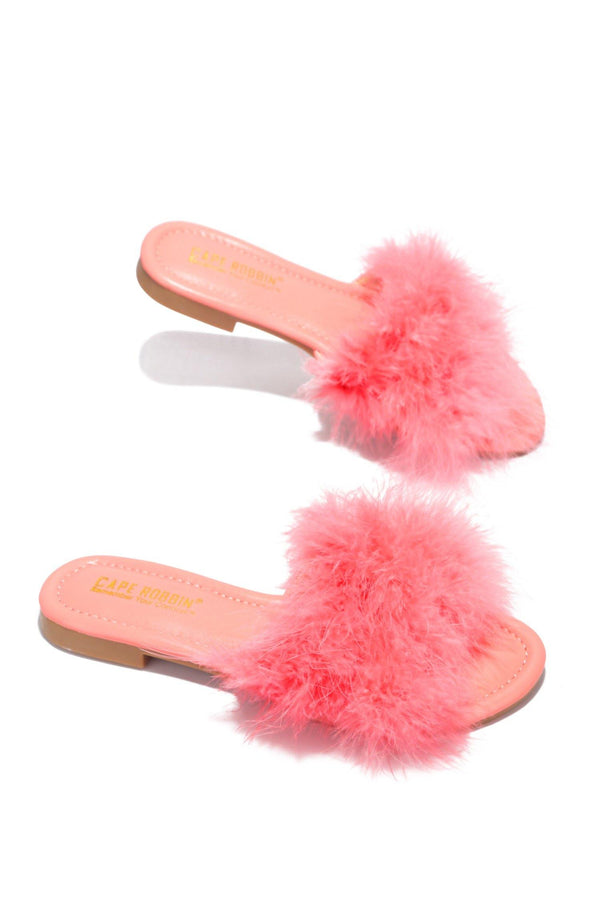 SANDAL 1 FLUFFY FUR FEATHER FLAT SLIP ON SLIDE SANDALS-PINK
