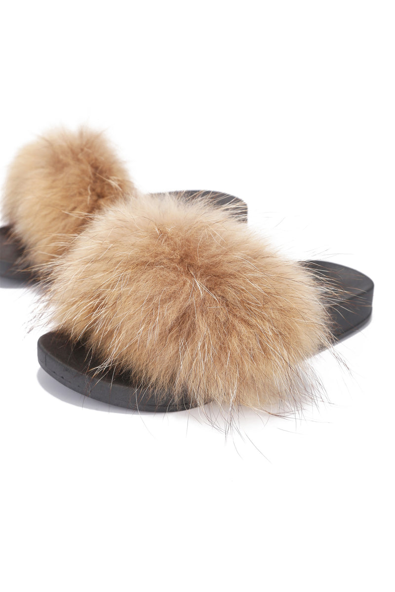 FLURRY FOX FUR FLAT SLIPPERS-TAN