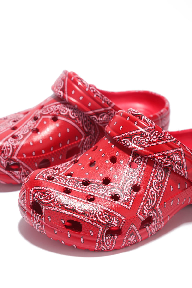 GARDENDOLLL KID'S ANKLE STRAP CUT OUT HOLE SANDAL-RED PRINT - FlashyBox