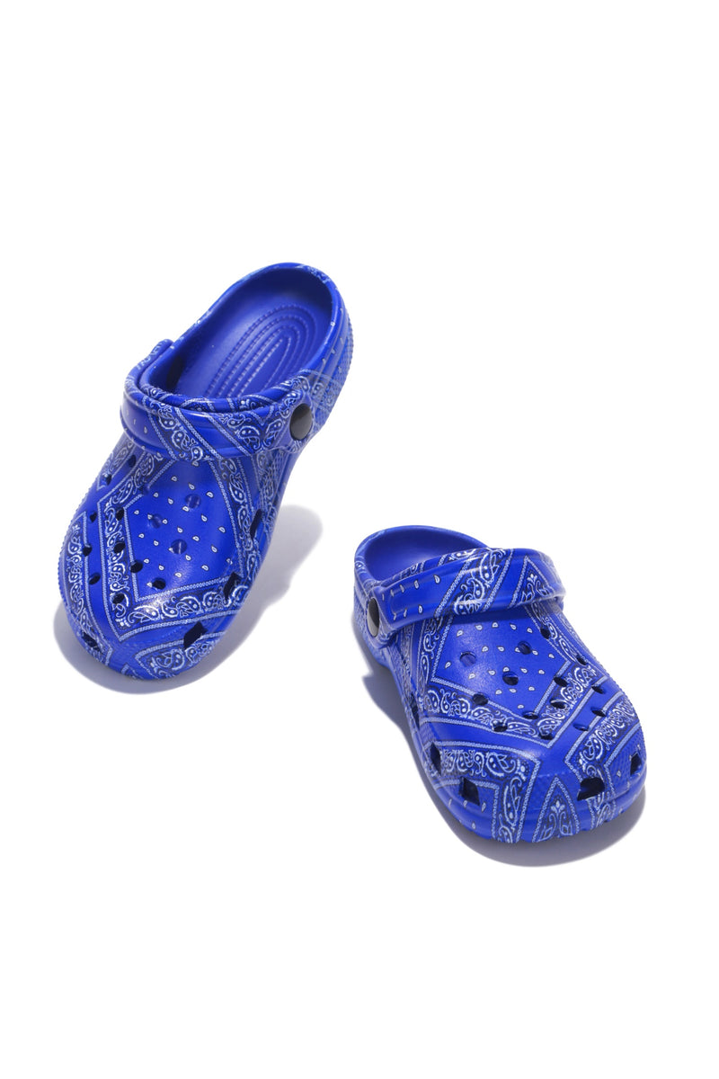 GARDENDOLLL KID'S ANKLE STRAP CUT OUT HOLE SANDAL-BLUE PRINT - FlashyBox