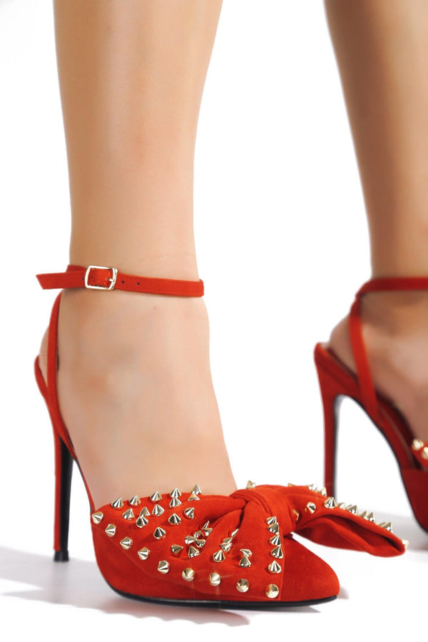 FALINE CROSSING YOU HEELED SANDALS-RED - FlashyBox