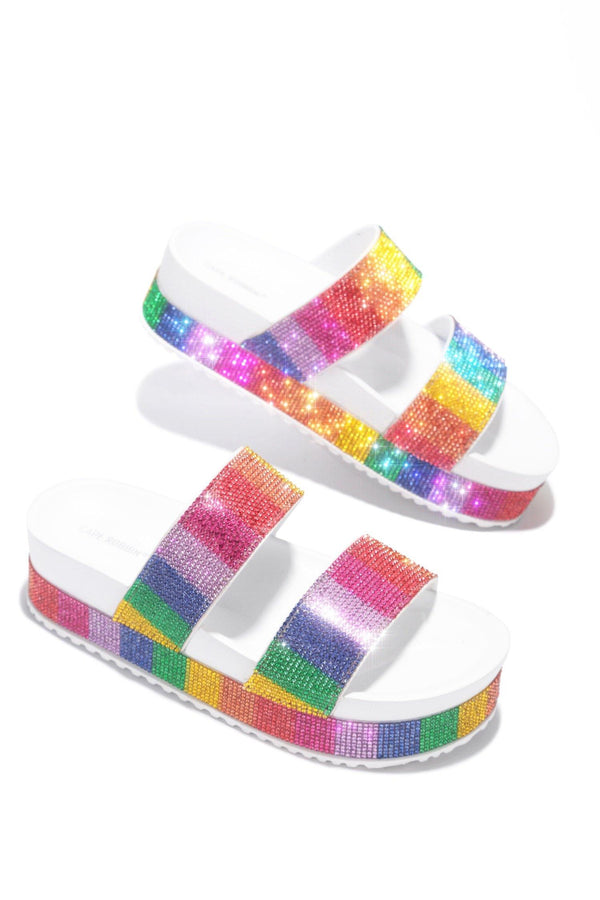 OMG RAINBOW PARTY PLATFORM SANDALS-WHITE