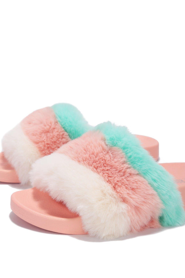 MUSICAL RAINBOW FURRY COMFORTABLE SLIDES-PINK