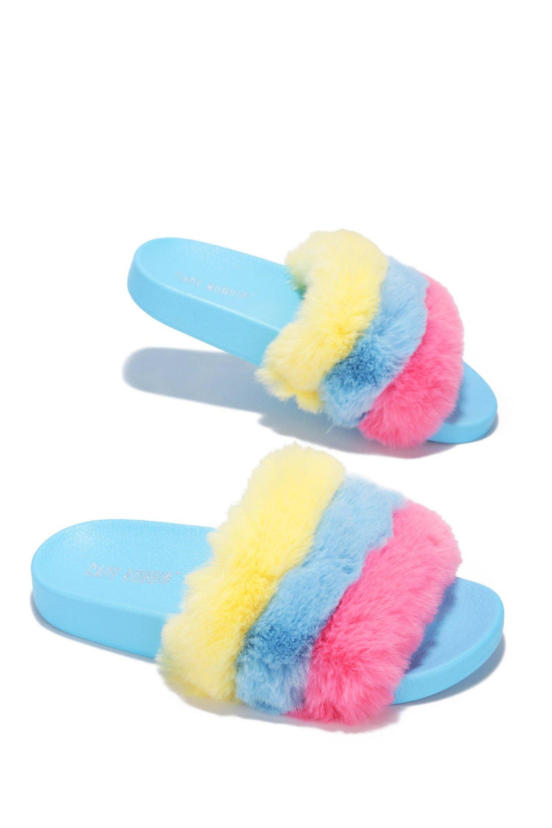 MUSICAL RAINBOW FURRY COMFORTABLE SLIDES-BLUE