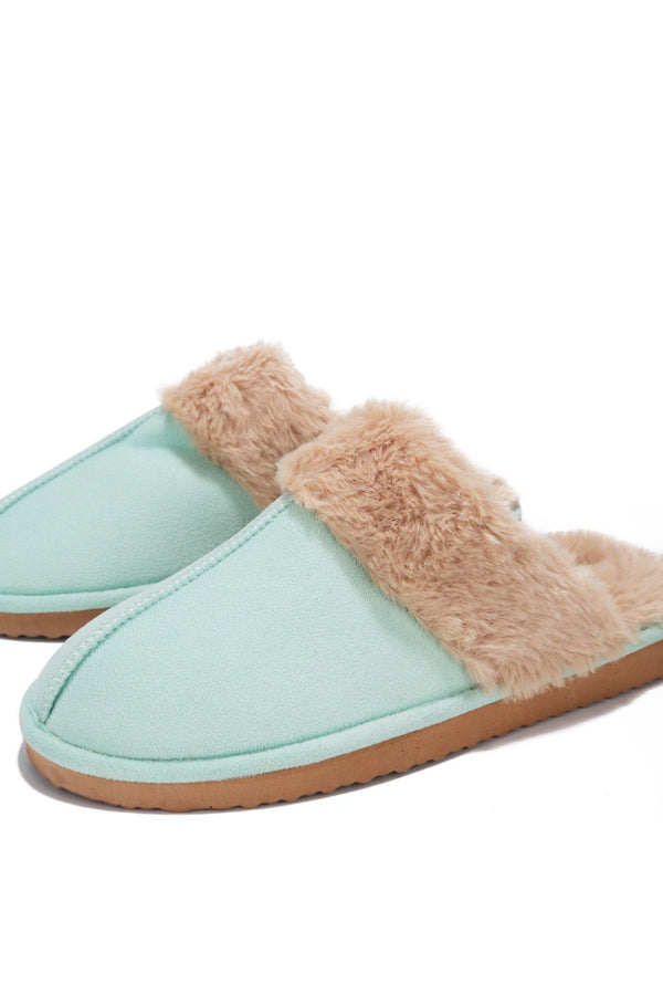 CABIN FUZZY FEELS FUR SLIDES-GREEN