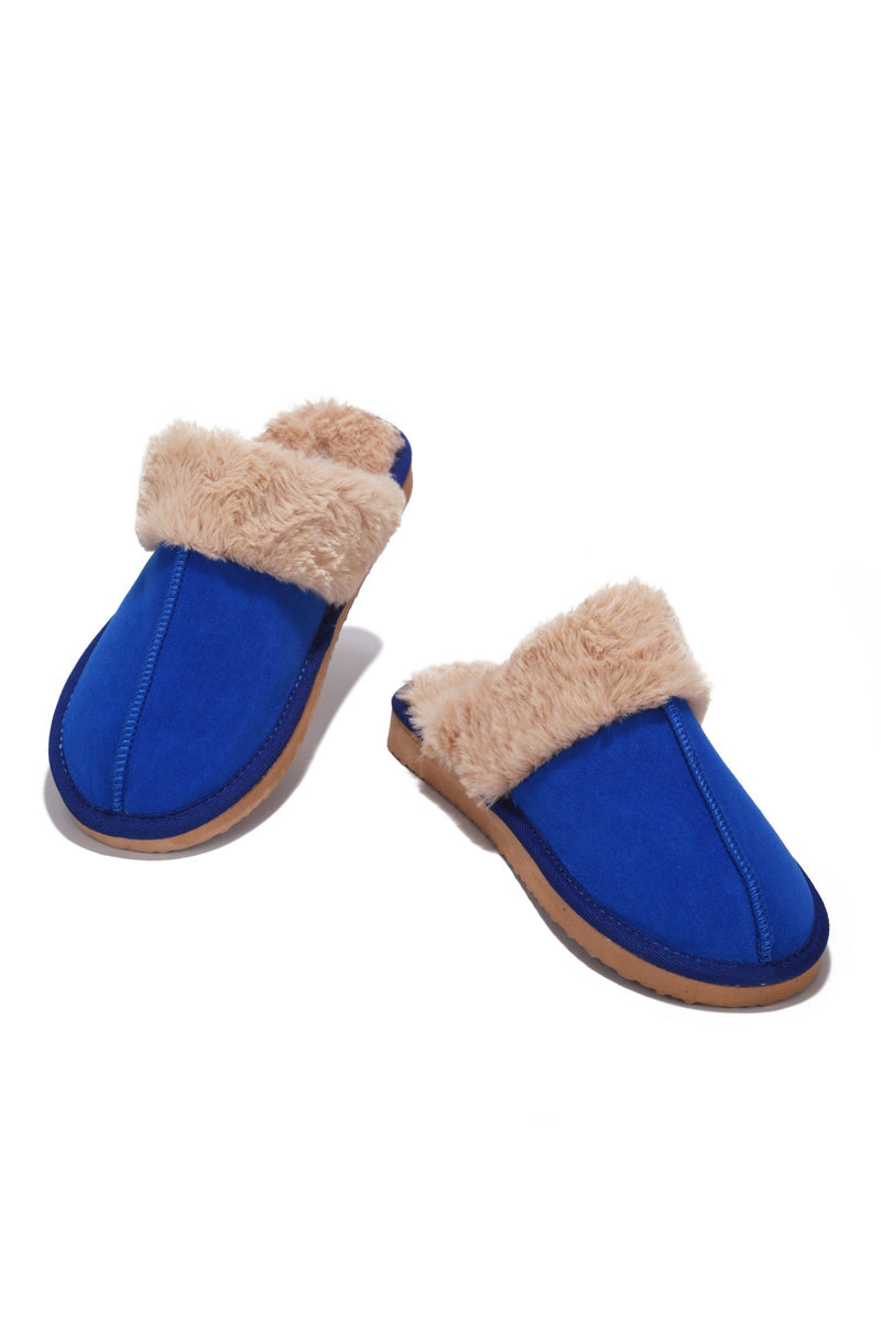 CABIN FUZZY FEELS FUR SLIDES-BLUE - FlashyBox