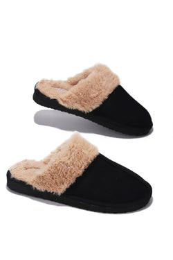 CABIN FUZZY FEELS FUR SLIDES-BLACK - FlashyBox